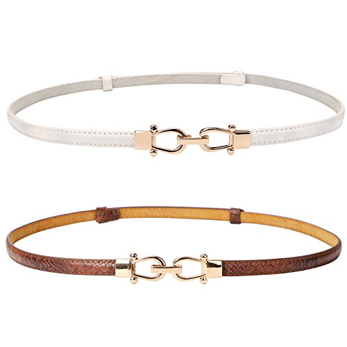 Leather Skinny Women Belt Thin Waist Belts for Dresses Up to 37