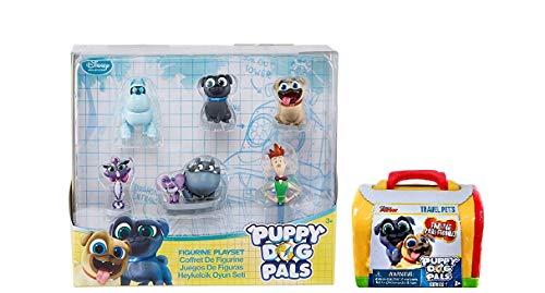 Disney Junior Puppy Dog Pals 6 pc Figure Play Set with Bonus Puppy Dog Pals Travel Pet Bundle