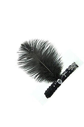 Lovke Des Femmes De Tête Bandeau Plume Flapper Morceau Tête Coiffe Wrap Bande De Cheveux Costume