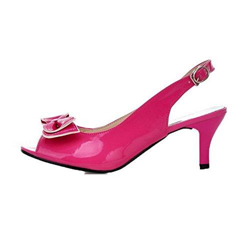 AalarDom Correct Verni Rouge Couleur Femme Unie Talon Sandales à TSFLG004818 4R4qw1