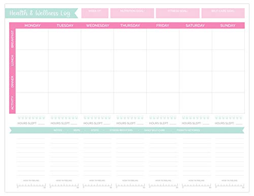 bloom daily planners Undated Health & Wellness Log Planning Pad - Daily/Weekly Nutrition, Fitness, Self-Care Tear-Off Planner - 8.5