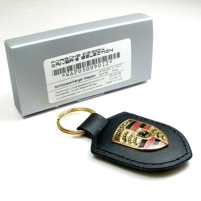 Genuine Porsche Black Crest Leather Key Chain
