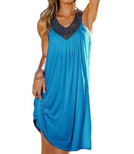Increspato Puro Strass Dall'oscillazione Svasato Blu donne Cinturino Colore Cielo Coolred Vestito gw57SqtWx