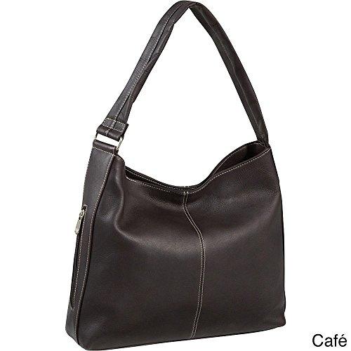Le Donne Leather Shoulder Tote with Side Zip Pocket (Cafe)