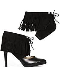 Fringe Shoe accessories Transform Your Pumps Into Ankle Boots and Walk Comfortable In Heels. Suede Leather, (Size S,M,L, Available In More Colors)