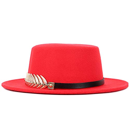 Pie Chaussures Britannique Chapeau Jusheng Plat Wild Homme Doré Rouge Femmes Fedora Couleur Ronde Top Marée 5Fwxw7fqA