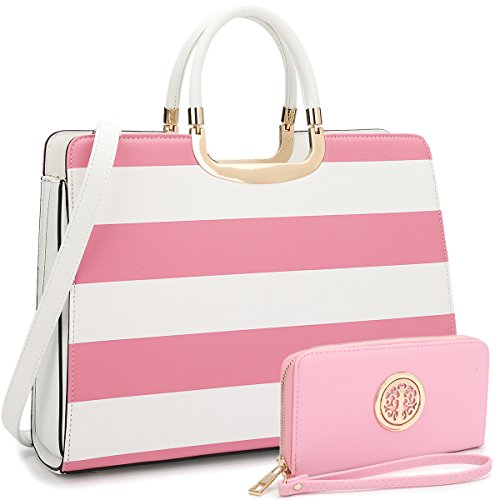 (Dasein Designer Purse Stripes Satchel Handbag PU Leather Purse Top Handle Handbags (XL2828 stripe 2PCs- Pink/White))