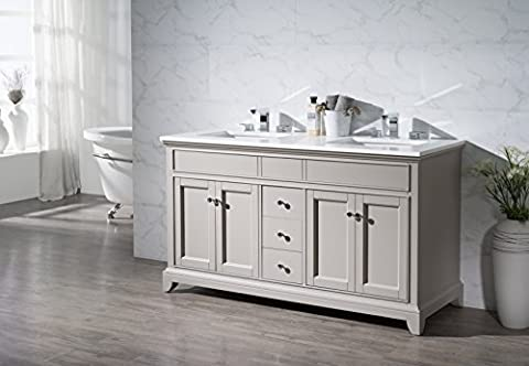 Stufurhome TY-7340-59-QZ Double Sink Bathroom Vanity Set, 59-Inch, Arianny (Tall Double Sink Vanity)