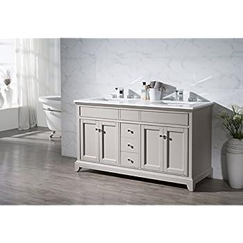 Stufurhome TY 7340 59 QZ Double Sink Bathroom Vanity Set, 59