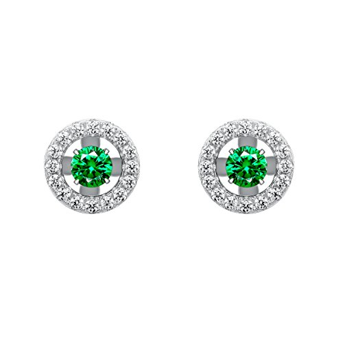 Jewever 925 Sterling Silver Geometric Circular Green Cubic Zirconia Dancing Stone Earrings Girls Gift Circular Cubic Zirconia Earrings