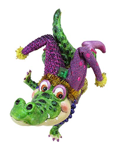 December Diamonds Glass Ornament - Jester Alligator, Mardi Gras Theme -