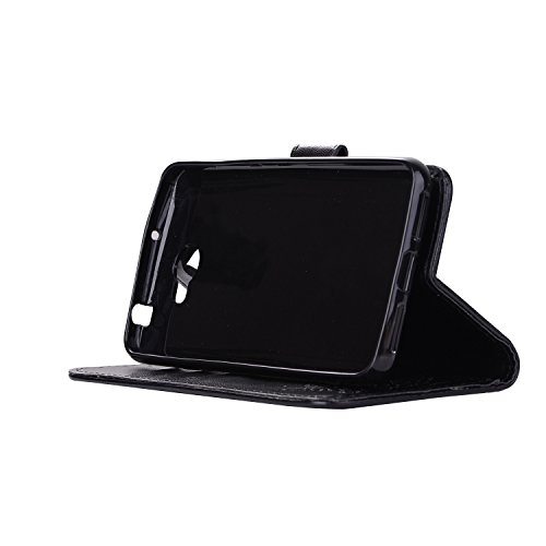 téléphone pour Wallet de magnétique carte fente Hozor avec black PU protection Huawei support étui motifs en Y5 exquis II relief Y6 cas 2 II Compact cuir fermeture de Flip Y5 avec wpvqwUz