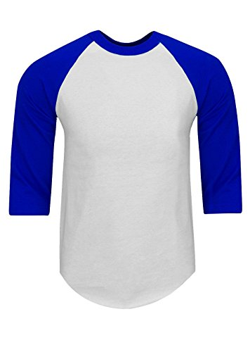 RA0113_S Baseball T Shirts Raglan 3/4 Sleeves Tee Cotton Jersey S-5XL White/Royal S