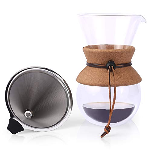 Pour Over Coffee Maker by Apace 2019 Premier Collection - Elegant Double Wall Glass Coffee Dripper Brewer Pot w/Carafe & Permanent Stainless Steel Filter (27 oz) ()