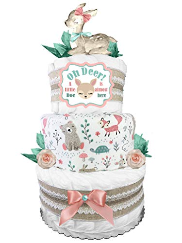 Doe Diaper Cake - Oh Deer! - Baby Shower Gift for a Girl - Mint Blush and Burlap Lace