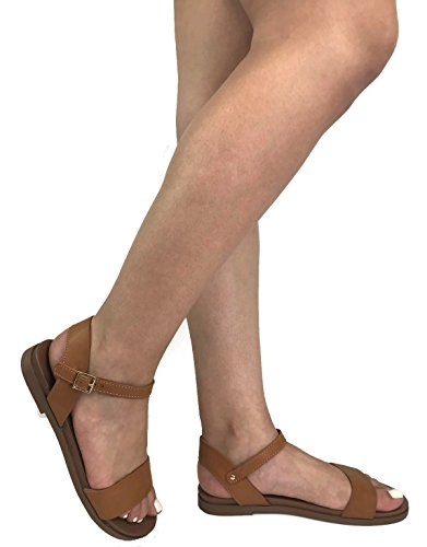 - City Classified Ankle Wrap Strap Sandal with Buckle, New Tan, 7
