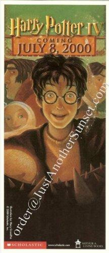 Harry Potter Book IV Goblet of Fire Promotional Bookmark
