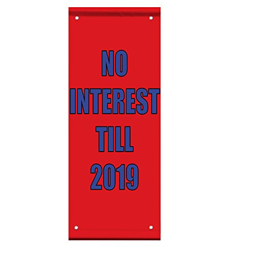 No Interest Till 2019 Double Sided Vertical Pole Banner Sign 36 in x 48 in w/ Wall Bracket by Fastasticdeals
