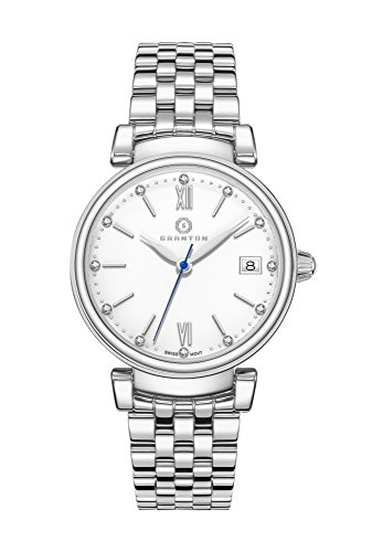 Granton Womens Swiss Silver Diamond Accented Enamel Dial 'Imperial' Wrist Watch for Ladies IMP.10041WH.SS - Enamel Dial Watch