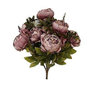 Sweet Home Deco 18'' Super Soft Blooming Peonies and Hydrangeas Silk Artificial Bouquet (13 Stems/6 Flower Heads) (Mauve) 83