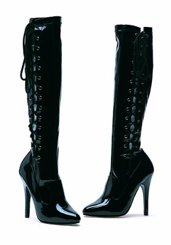 Ellie Chaussures Femmes Féroce 5 Talon Genou Stretch Boot W / Fermeture Éclair Noir