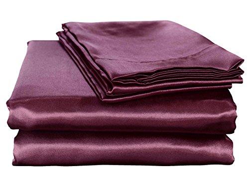 Honeymoon Luxury Satin Bed Sheet Set, Ultra Silky Soft, Queen - Purple