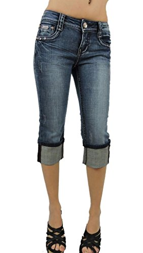 L.a. Idol Women Capri Jeans Angel Wing Crystal Stretch in Vintage Blue (Angels Stretch Denim)