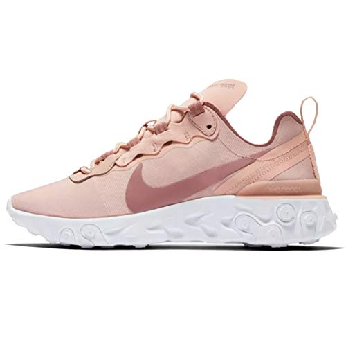 (Nike Women's React Element 55 Running Shoes (10, Particle Beige/White/Smokey Mauve))