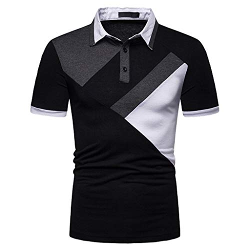 (POQOQ T Shirts Polo Tops Blouse Men's Casual Slim Fit Short Sleeve Henley T-Shirts Polyester Shirts Mens Casual Slim Fit Long Sleeve Henley T Shirts XL Black)