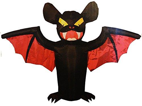 [Indoor Outdoor 3 Ft Tall Battery Operated Spooky Bat Inflatable Halloween Decor] (Halloween Outdoor Inflatables)