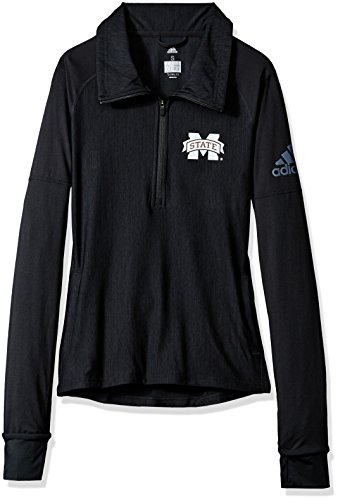 State Bulldogs Pocket (NCAA Mississippi State Bulldogs Adult Women Team Logo Vertical Heather 1/4 Zip Pullover, XX-Large, Black)