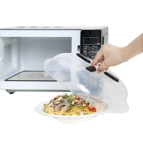 Magnetic Microwave Hover Splatter Cover, Microwave Plate Guard Lid With Easy Grip Silicone Handle & Steam Vent- 11.8 inches- Easy To Use For The Whole Family, Dishwasher Safe, Microwave Safe!! (Small Kitchen Microwave)