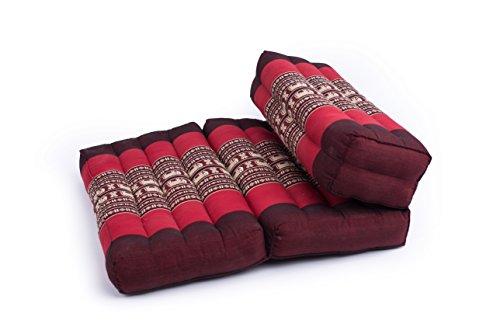 Foldable Meditation Cushion, 100% Kapok, Red Elephants