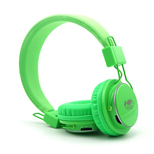Multifunction Headphones with Radio and Micro SD Card Player, GranVela A809 Foldable Hi Definition Headset with Detachable Cable and In Line Mic for Girls, Boys,Kids and Adults -Bright Green