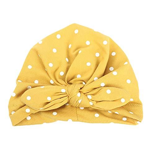 - loinhgeo-Cute Rabbit Ears Dot Baby Toddler Cotton Elastic Beanie Turban Hat Photo Props - Yellow