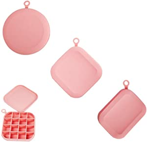 GS Tools 3 Pack Silicone Ice Cube Molds, Snazzy Looks and Food Grade Ice Maker for Drinks, Spill-Resistant Removable Silicone Lid and BPA Free, Round, Square and Rectangle Mold | Pink