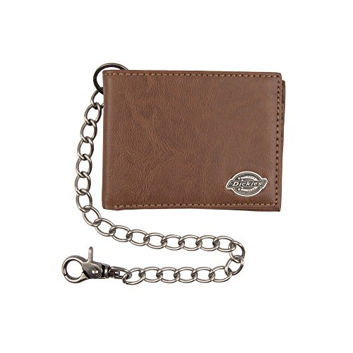 Dickies Men's Bifold Chain Wallet-High Security with ID Window and Credit Card Pockets, Light Tan, One Size