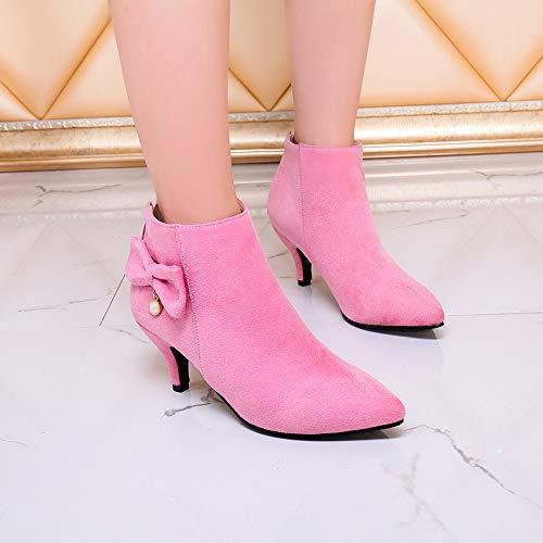 Bow Zipper Rose À Bottes Chaussures Boots Épais Daim Talon En Escarpins Stiletto Booties Femme Manadlian Uqw76tx4Y