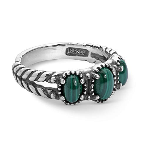 American West Sterling Silver Green Malachite Gemstone 3-Stone Friendship Ring Size 6