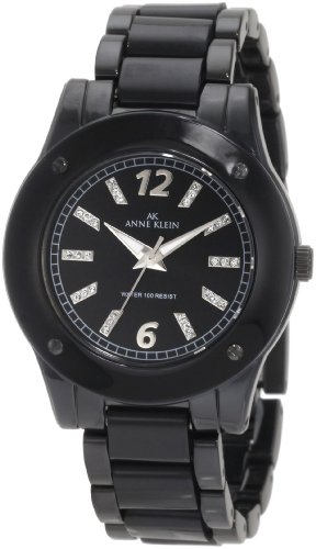 Anne Klein Women's 10/9181BKBK Black Ion-Plated Bracelet with Resin Center Links Watch