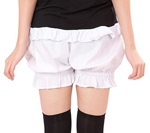 antaina White Lovely Victorian Cotton Ruffles Lolita Pumpkin Bloomers (Lovely Cotton Short)