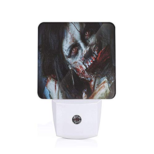 Colorful Plug in Night,Scary Dead Woman with Bloody Axe Evil Fantasy Gothic Mystery Halloween Picture,Auto Sensor LED Dusk to Dawn Night Light Plug in Indoor for Childs Adults