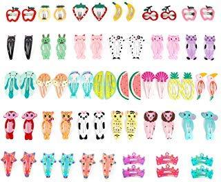 Animal Print Hair Bow - Ezerbery 64 Pcs Baby Girls Hair Clips Animal Pattern Print Girls' Metal Snap Hair Clips Hair Accessories for Kids Toddlers Girls