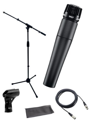 Shure SM57-LC Instrument/Vocal Cardioid Dynamic Microphone Bundle with Mic Boom Stand, XLR Cable, Mic Clip, and Bag by Shure