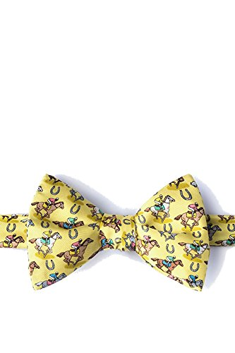 Men's 100% Silk Pony Up Horse Racing Kentucky Derby Day Butterfly Bow Tie (Yellow) -