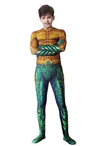 Kid Onesie 3D Print Costume Boys Cosplay Unisex Bodysuit Aquaman Cosplay Suit Lycra Zentai,Kid M -