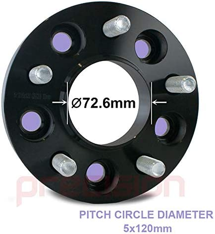 Precision 1 Pair of 30mm Black Stud Coverter Wheel Spacers for ƁMW 3 Touring PN.SFP-2BS07B+10SB01-130