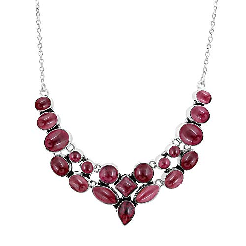 925 Silver Plated 45.30ctw Genuine Garnet - Square Garnet Necklace