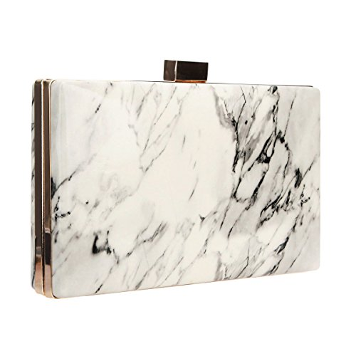 Clutch Women Bag Bonjanvye Pattern Marble for Purse Evening White Leather qaIEY
