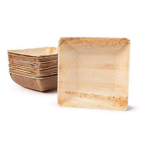 Palm Leaf Bowl - Environmentally disposable tableware | 25 pieces Palm leaf Bowls 10.8 oz 5 Inch square | Disposable Salad Bowl, Dip Soup Bowl, Serving Bowls, Snack Trays - Bowl Square Dip